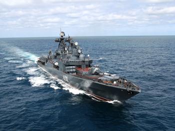 """Големият кораб за борба с подводници """"Адмирал Чабаненко"""" (според публикациите на НАТО: Udaloi-class destroyer Admiral Chabanenko. Източник: politicalhotwire.com"""