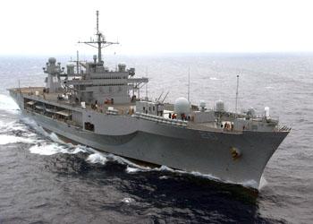 USS Mount Whitney (LCC 20), в открито море.